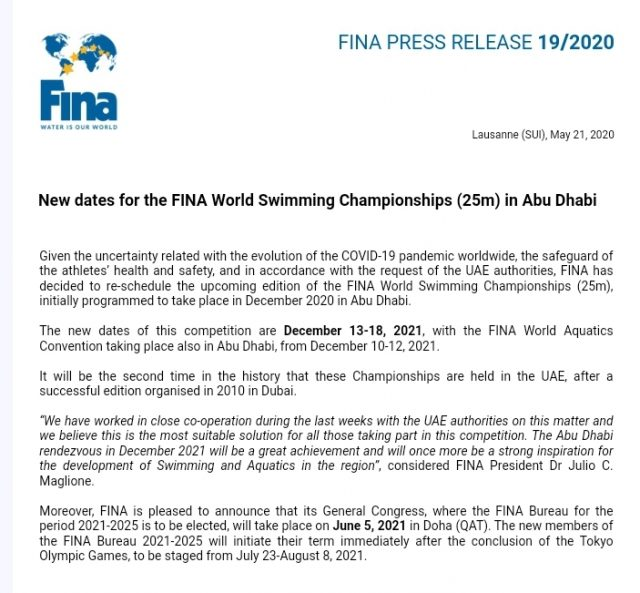 New dates for the FINA World Swimming Championship (25 m) in Abu Dhabi